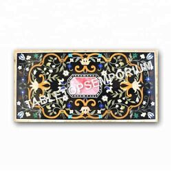 5and039x3and039 Black Marble Dining Center Outdoor Table Top Marquetry Inlay Decor E976