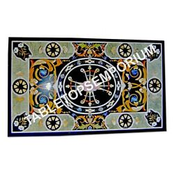 5and039x3and039 Antique Marble Counter Height Table Top Marquetry Inlay Garden Decor E964a