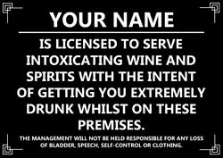Metal Bar License Sign Personalised Metal Bar Sign Intoxicated Gift Home Bar