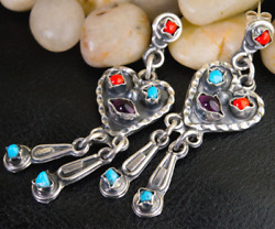 Vintage Taxco Handmade 925 Silver Earrings Natural Amethyst Turquoise Coral