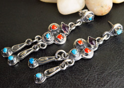 Vintage Taxco Handmade Earrings 925 Silver Natural Amethyst Turquoise Coral