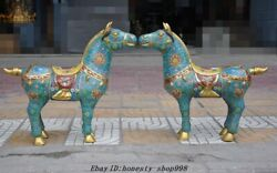 Old Chinese Fengshui Bronze Cloisonne Enamel Tang Horse War Horses Animal Statue