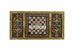 4'x3' Traditional Marble Chess Large Dining Table Top Pietradura Inlay Art Decor