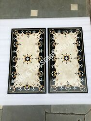 3and039x2and039 Marble Set Of Table Top Italian Marquetry Inlay Hallway Garden Decor E366a