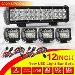 Cree Led Light Bar 4/12inch Spot Flood Combo Kit With Off Road Wiring Harness