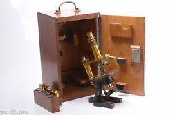 ✅ Zeiss Stand Va Antique Brass Microscope Compound C. 1880
