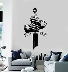 Vinyl Wall Decal Knight Warrior Hands Sword Middle Ages Stickers Mural G3930