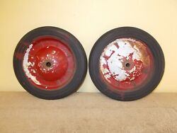 Vintage Childs Kids Toy Pull Wagon Pair Tires Hard Rubber Pedal Car Wheels