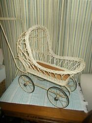 Antique Vintage Wicker Baby Doll Carriage Stroller Buggy White