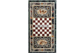 4and039x2and039 Green Marble Dining Side Chess Table Top Pietra Dura Inlay Outdoor Decor