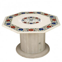32'' Marble Top Coffee Table With Stand Pietra Dura Gemstone Inlay Work Decor