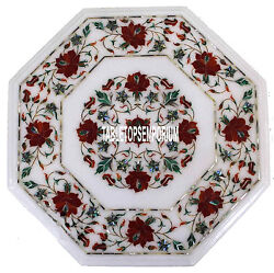 16 Marble Coffee Table Top Carnelian Floral Inlay Hallway New Year Decor Gifts