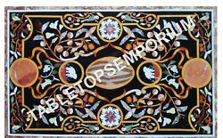 4and039x2and039 Black Marble Dining Room Table Top Marquetry Inlay Furniture Decor H5662