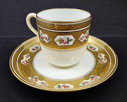 Antique Minton Demitasse Cup And Saucer, Tiny Roses