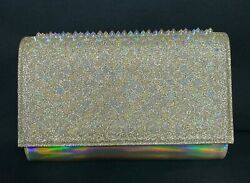 9*18 NEW Christian Louboutin Clutch Mini Paloma Studded Glitter Gold Leather Bag $650.00
