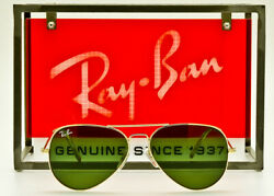 RAY BAN METAL AVIATOR RB3025 Polished Gold Crystal Green Glass 58mm ITALY MADE $59.95