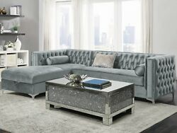 Modern Glam 2-piece Sectional Sofa With Bench Seat And Storage Chaise Gray Velvet