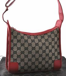 Authentic GUCCI Shoulder Bag GG Canvas Leather Black Red A7612 $220.00