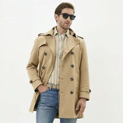 Men's Trench Coat High-quality Long Lapel Windbreakers Polyester Clothing Set