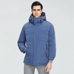 Men's Winter Coat High Quality Parkas Polyester Hooded Regular Solid Clothing