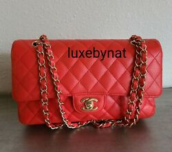 Chanel medium double flap bright red caviar gold hardware $4099.00