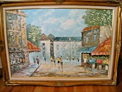 Listed Artist Louis Basset, France B. 1948 Signed Oil Painting On Canvas Paris