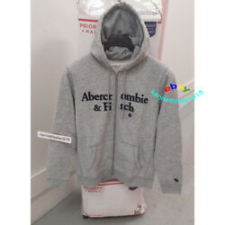 Abercrombie And Fitch Mens Full Zip Logo Hoodie Sweatshirts Heather Grey Size M
