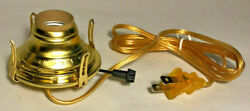 New Solid Brass 2 Queen Anne Electric Lamp Burner With 6 Ft. Gold Cord Eb213