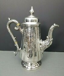 Antique Fine Silver Plate Coffee Pot Hand Chased Ornate Repousse 19th Century