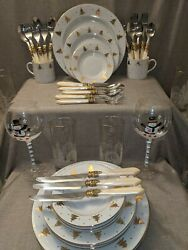 Hampton Silversmiths Stainless Flatware And Tienshan Fine China Gold Pines
