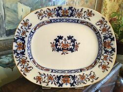 Antique English Minton Blue And White 19thc Platter 14.75 Inches Circa 1880