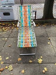 Vintage Aluminum And Webbing Chaise Lounge Chair Multi Color