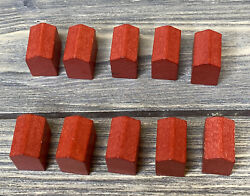 Parker Brother Deluxe Monopoly 1995 Red Wooden Hotels Replacement Parts Pieces