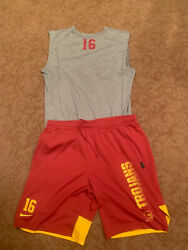 Usc Trojans Nike Football Shirt And Shorts Large Team Issued 16 Conditioning
