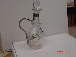 Goldsmiths And Silversmiths England Cut Glass Decanter And Silver Handle