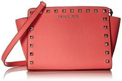 NWT Michael Kors Selma Top Zip Pyramid Stud Leather Messenger coral silver bag $111.99