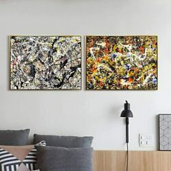 Framed Canvas Print Art Combo Painting 2 Pieces By Jackson Pollock Series5