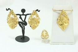 22k Yellow Gold South East Asian Style Jewelry Set Earrings, Ring And Pendant