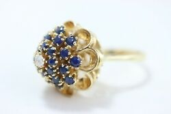 14k Antique Dome Cocktail Ring W/ Sapphire And Diamonds