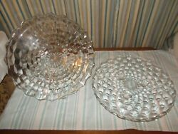 2 Vintage Indiana Glass American Whitehall Clear Footed Cake Plates