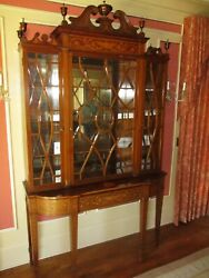 Antique Hepplewhite Colonial Marquetry Inlaid China Cabinet