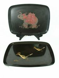 Mid Century Couroc Black Wood Inlay Sea Shore And Roadrunner Birds Serving Tray