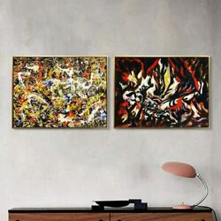 Combo Painting 2 Pcs By Jackson Pollock Framed Canvas Print Wall Art Decorations