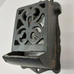 Antique Cast Iron Matchstick Holder, Wall Mounted With Lid