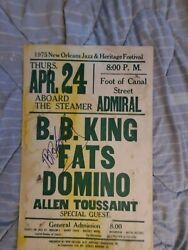 Bb King Fats Domino Autograpghed Toussaint Signed Boxing Style Concert Poster