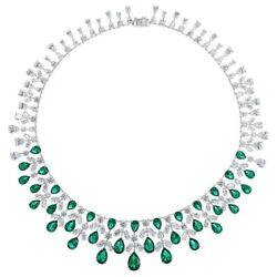 Sparkly Green White Pear 925 Sterling Silver Solid Highend Handmade Necklace