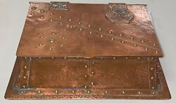 Antique Arts Crafts Hand Hammered Copper Inkwell Box Stickley Rare 13 X 9