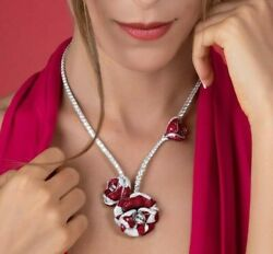 925 Sterling Silver Red Princess White Round Flower Pendant High End Necklace