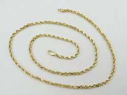 14k Yellow Gold Solid Rope Chain Necklace Dia Cut 21.75 3mm 17.9g S1197