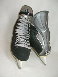 Nike Quest Q3 Ice Hockey Skates Zoom Air Menand039s Size 6 Custom Black Pre-owned